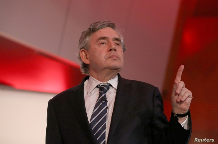 FILE PHOTO: Former British Prime Minister, Gordon Brown, delivers a speech n central London, Britain May 21, 2016.  REUTERS…