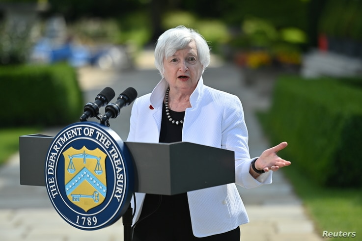 U.S. Treasury Secretary Janet Yellen speaks during a news conference, after attending the G7 finance ministers meeting, at...