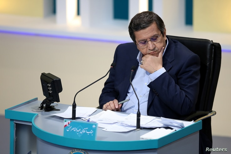 Presidential candidate Abdolnaser Hemmati attends an election debate at a television studio, in Tehran, Iran June 8, 2021...