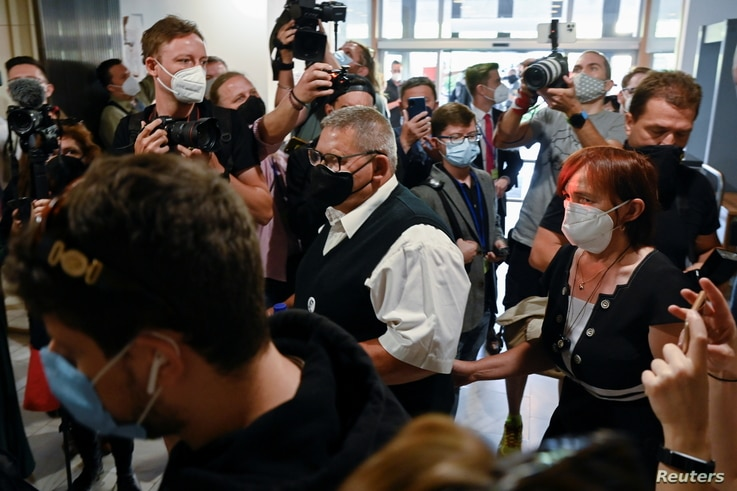 Parents of investigative journalist Jan Kuciak arrive at the Slovak Supreme Court for the public hearing of Marian Kocner and…