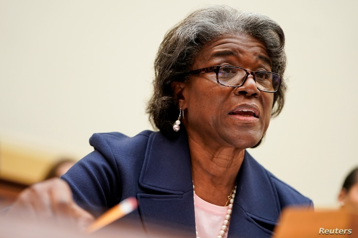U.S. Ambassador to the United Nations Linda Thomas-Greenfield testifies to the House Foreign Affairs Committee on the Biden...