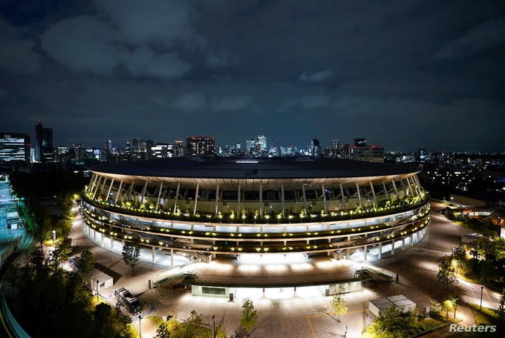 A general view of the National Stadium in preparation for the Tokyo 2020 Olympic Games in Tokyo, Japan June 23, 2021 on the day...