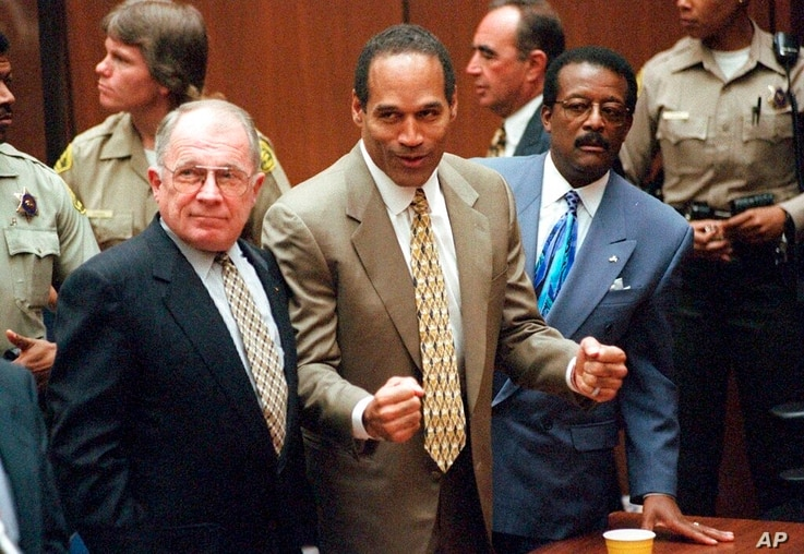 FILE - In this Oct. 3, 1995, file photo, O.J. Simpson reacts as he is found not guilty in the death of his ex-wife Nicole Brown…
