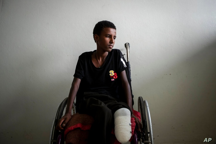 Mikiele Kahsay, 16, sits in a wheelchair at the Ayder Referral Hospital in Mekele, in the Tigray region of northern Ethiopia,…