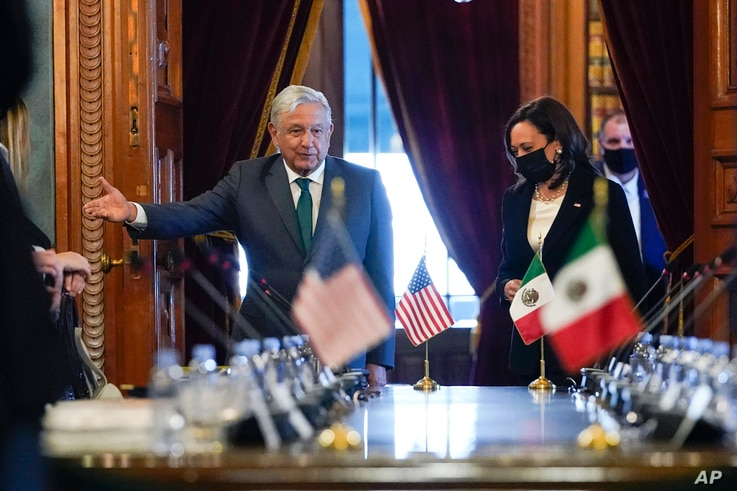 Vice President Kamala Harris and Mexican President Andres Manuel Lopez Obrador arrive for a bilateral meeting Tuesday, June 8,...