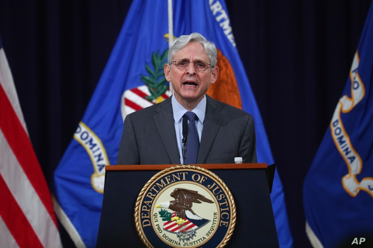 U.S. Attorney General Merrick Garland speaks about voting rights at the Justice Department in Washington, on Friday, June 11,...