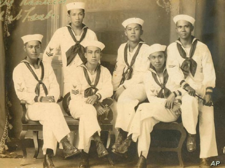 In this 1923 photo provided by the Filipino American National Historic Society are Filipino sailors in an unknown location.