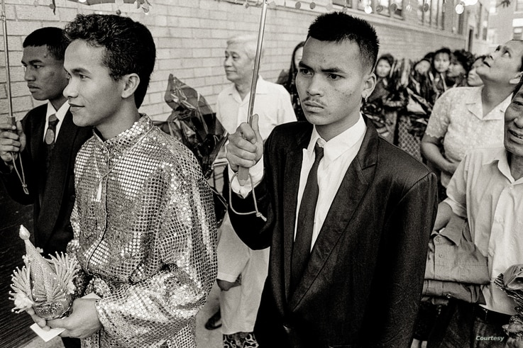 Ricky, the groom, during a Cambodian traditional wedding ceremony in Uptown, Chicago, 1990s. (Photo: Stuart Isett)