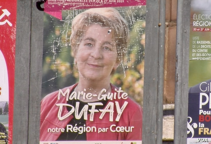 Leftist incumbent Marie-Guite Dufay of the Bourgogne-Franche-Compte region is ahead in the first round of French regional elections. (Lisa Bryant/VOA)