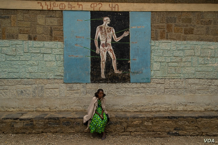 A woman sits in front during a science lesson painted on a wall of one school now housing displaced families, in Mekelle, Ethiopia, June 3, 2021. (Yan Boechat/VOA)
