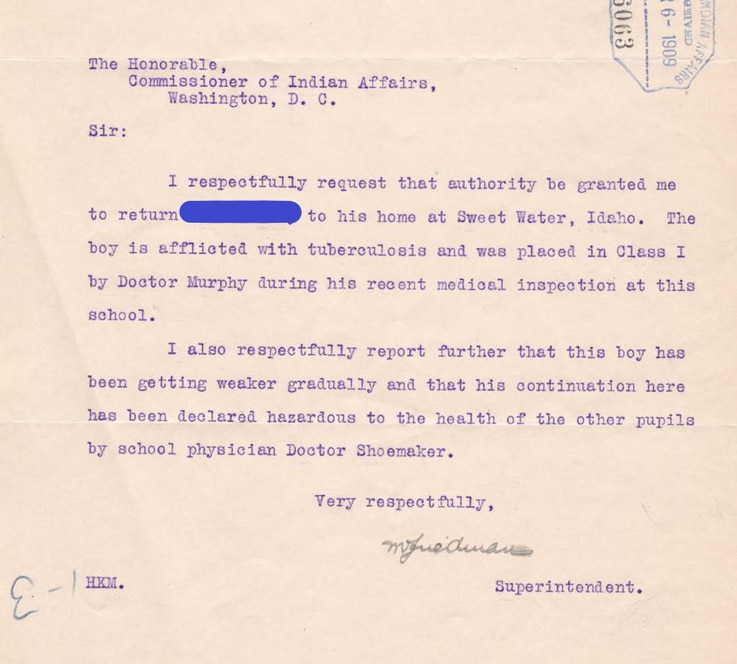 Detail from April 1909 request by Carlisle Indian school superintendent to send boy home.