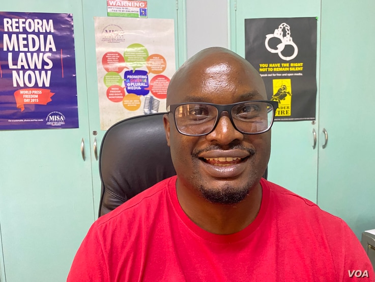 Tabani Moyo, director of Media Institute of Southern Africa, said he welcomed the release of arrested New York Times journalist Jeffrey Moyo, no relation, and was looking forward to the trial, in Harare, June 16, 2021. (ColumbusMavhunga/VOA)