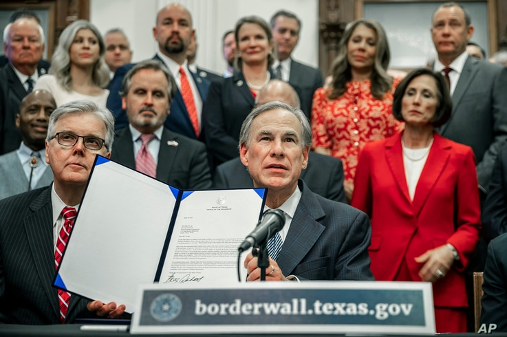 Gov. Greg Abbott speaks during a press conference on details of his plan for Texas to build a border wall.