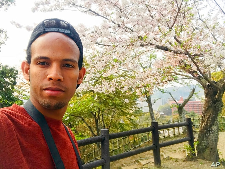 This selfie provided by Tsige, who gives only his first name, shows himself at Dogo Park, Matsuyama, Ehime Prefecture, Japan on…