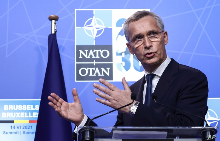 NATO Secretary General Jens Stoltenberg speaks during a media conference at a NATO summit in Brussels, June 14, 2021.