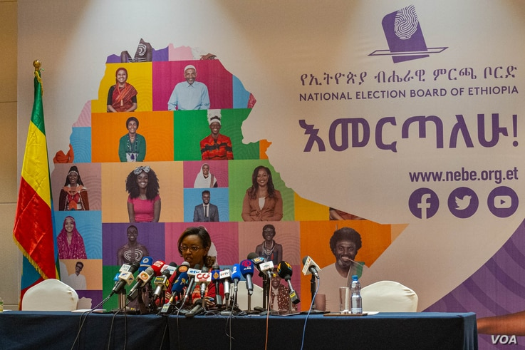 Ethiopian officials said voting was finishing and preliminary results would be known in five days, in Addis Ababa, Ethiopia, June 22, 2021. (VOA/Yan Boechat)