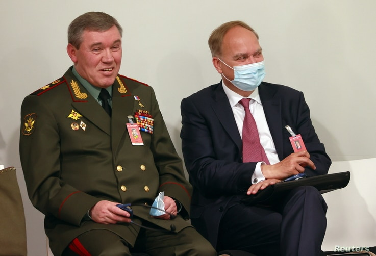 Chief of the General Staff of Russian Armed Forces Valery Gerasimov speaks with Russia's ambassador to the United States before a news conference after the U.S.-Russia summit, in Geneva, Switzerland, June 16, 2021.