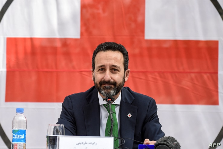 Robert Mardini, Director-General of the International Committee for the Red Cross (ICRC) attends a press conference on his...