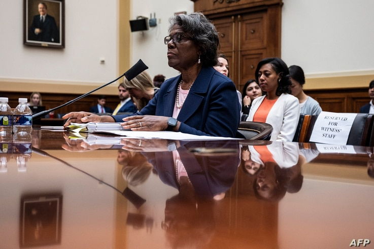 US Ambassador to the United Nations Linda Thomas-Greenfield testifies before the House Foreign Affairs Commmittee on Capitol...