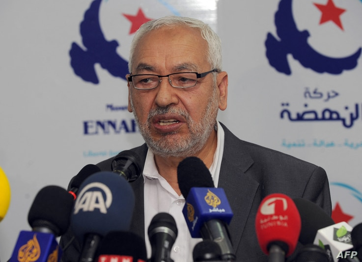 Tunisian Ennahda Islamist party's leader, Rached Ghannouchi speaks during a press conference on May 15, 2013 in Tunis. The...