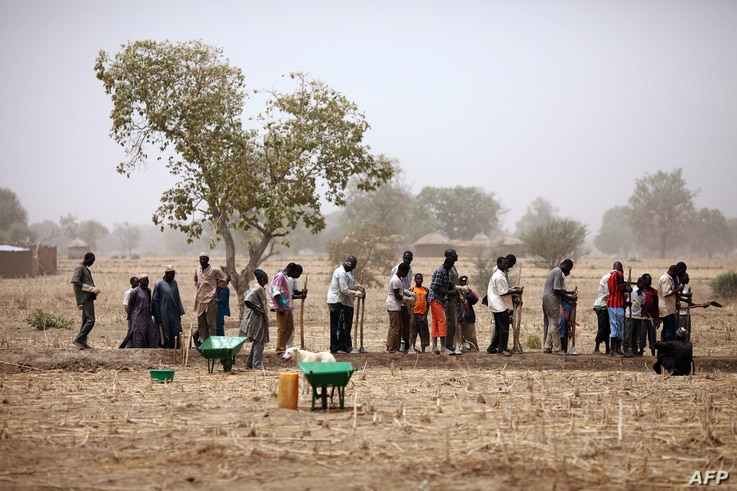 People work on March 21, 2012 in a field as part of a cash for work program run by the French non-governmental organization…