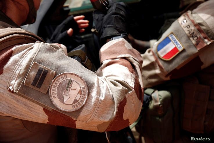 A close-up of the France's Barkhane operation patch worn by French troops in Africa's Sahel region as part of the anti…