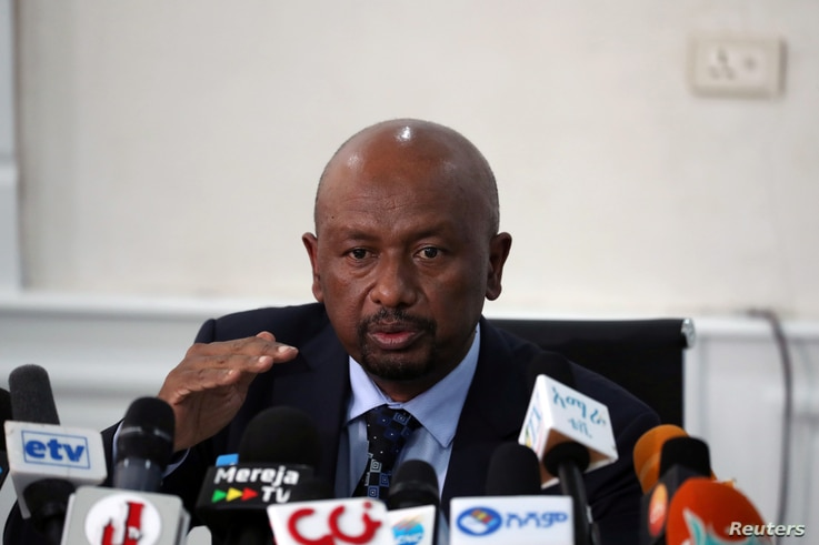 Seleshi Bekele, Ethiopia's Minister of Water, Irrigation and Energy speaks during a news conference on the current status of…