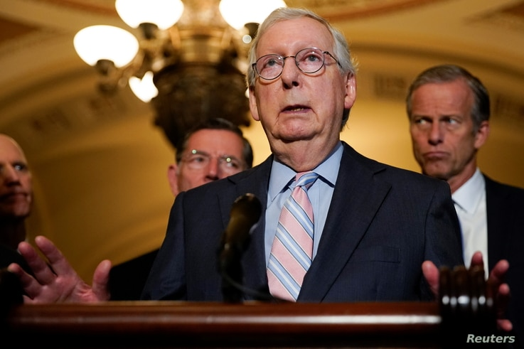 Senate Minority Leader Mitch McConnell speaks to reporters following the weekly Senate lunch at the U.S. Capitol in Washington,…