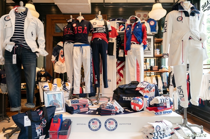 The official Opening Ceremony uniforms of the United States team designed by Ralph Lauren, for the Tokyo 2020 Olympics, are…