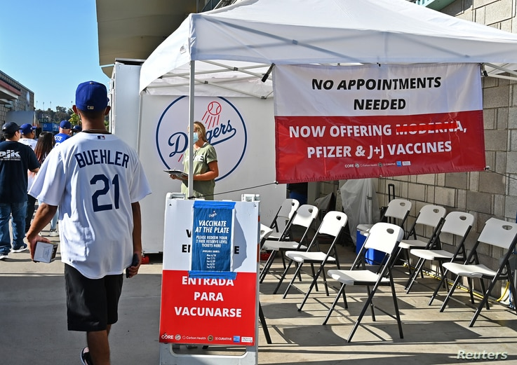 Jul 19, 2021; Los Angeles, California, USA; The Los Angeles Dodgers have an onsite COVID-19 clinic offering free tickets for...