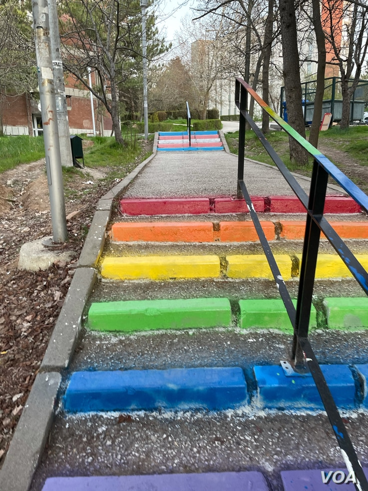 Steps painted with LGBT-themed colors are seen on the campus of Middle East Technical University in Ankara, Turkey. (Salim Fayeq/VOA)
