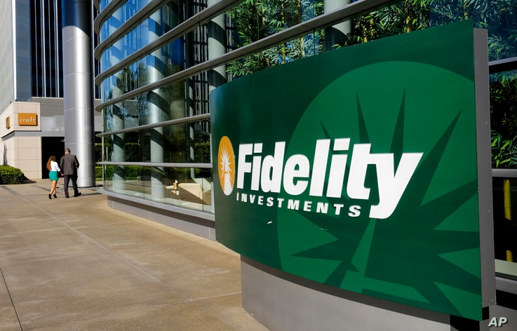 FILE - This Thursday, June 16, 2016, file photo shows a sign outside of a Fidelity Investments office in the Century City…