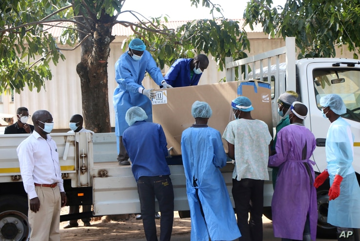 COVID-19 vaccines arrive to be destroyed, in Lilongwe, Malawi, Wednesday, May 19, 2021. Malawi has burned nearly 20,000 doses...