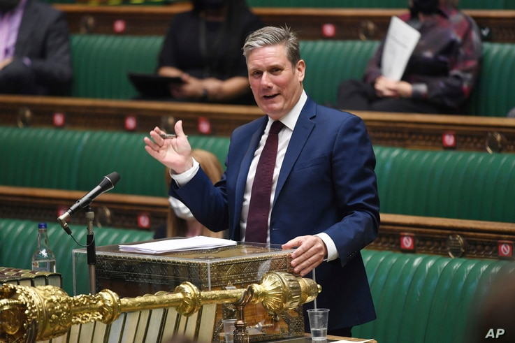 In this handout photo provided by UK Parliament, Labour Party leader Keir Starmer speaks during Prime Minister's Questions at…