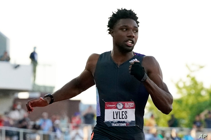 Noah Lyles competes in the second semi-final of the men's 100-meter run at the U.S. Olympic Track and Field Trials Sunday, June…