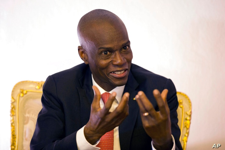 FILE - In this Aug. 28, 2019, file photo, Haiti's President Jovenel Moise speaks during an interview in his office in Port-au…