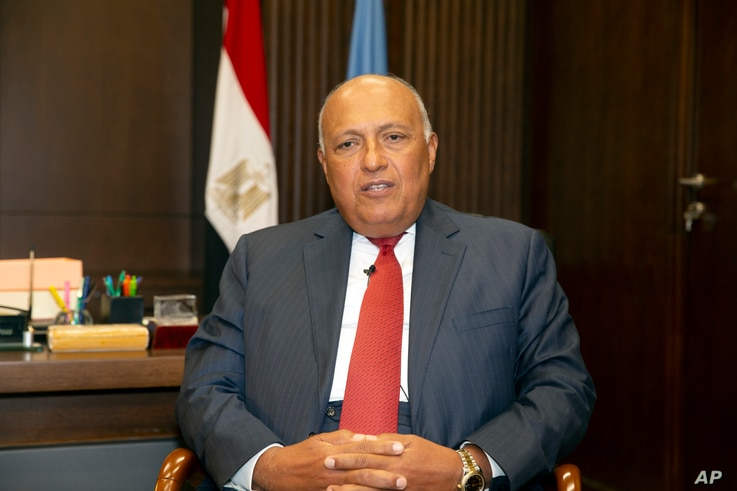 Egyptian Foreign Minister Sameh Shoukry speaks in New York City about Ethiopia's contentious dam project on Wednesday, July 7,…