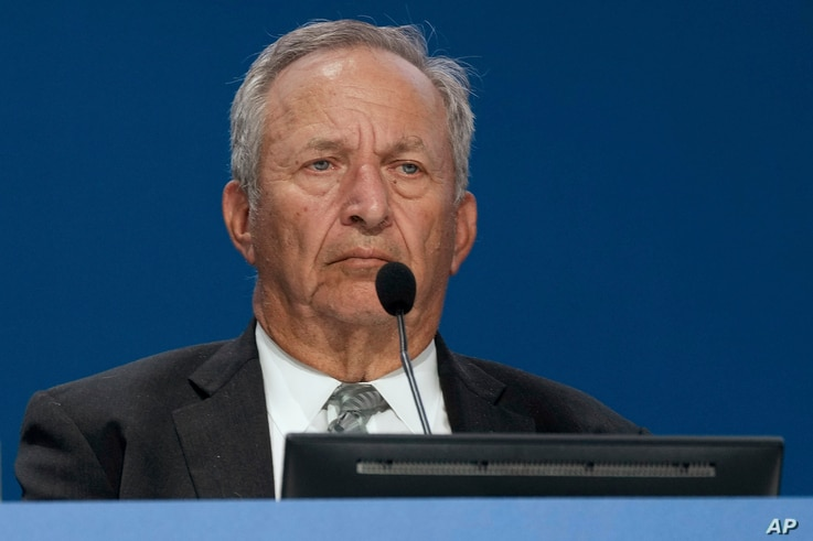 Lawrence Summers, Former United States Treasury Secretary, delivers his speech during a panel at a G20 Economy and Finance...