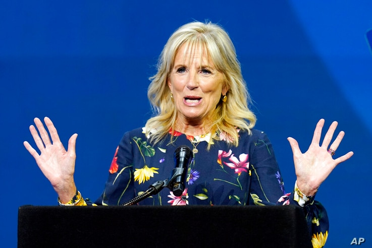 In this July 8, 2021 photo, first lady Jill Biden delivers remarks before the start of the finals of the 2021 Scripps National...