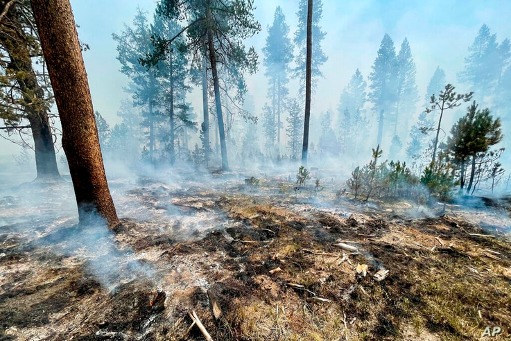 In this photo provided by the Bootleg Fire Incident Command, the Bootleg Fire is seen smoldering in southern Oregon, Saturday,…