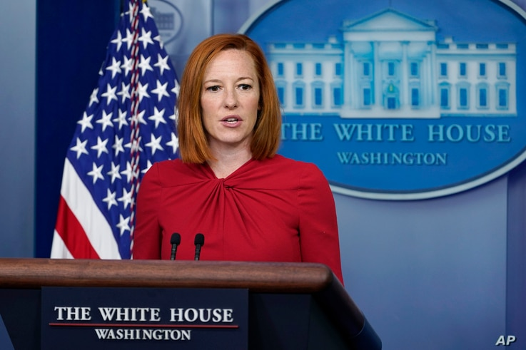 White House press secretary Jen Psaki speaks during the daily briefing at the White House in Washington, Monday, July 19, 2021…