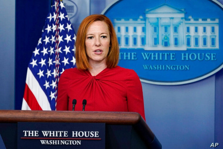 White House press secretary Jen Psaki speaks during the daily briefing at the White House in Washington, Monday, July 19, 2021...