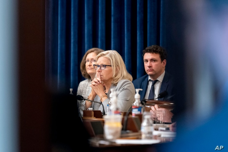 Rep. Liz Cheney, R-Wyo., appears during a meeting as the select committee on the Jan. 6 attack prepares to hold its first...