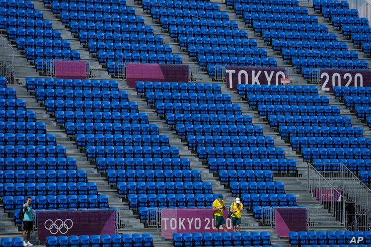 Empty seats are seen at Ariake Urban Sports Park, site of the men's street skateboarding at the 2020 Summer Olympics, in Tokyo, Japan, July 25, 2021.
