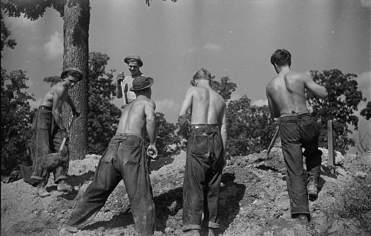 Members of the Civilian Conservation Corps work in Prince George's County, Maryland, November, 1935