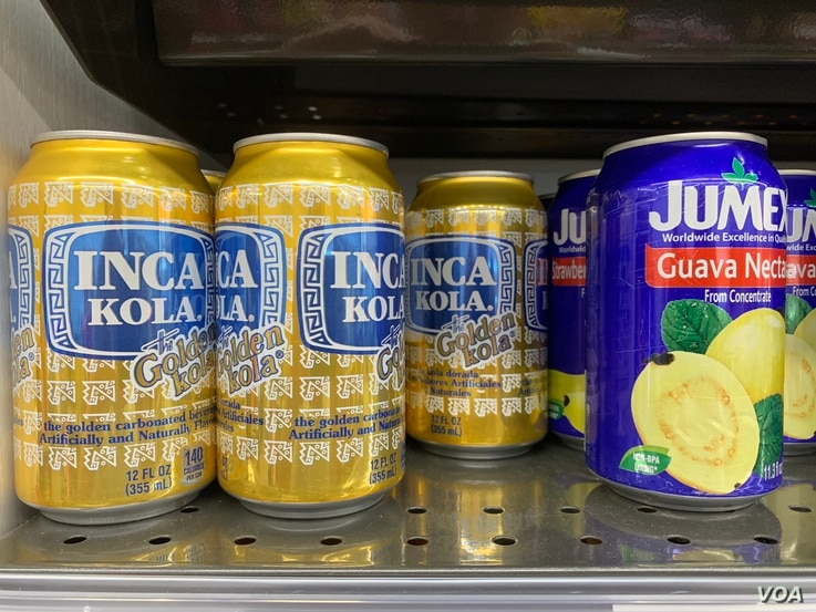Latin American soft drinks in a corner store that caters to migrant labor flown in to work the fields during the pandemic. (Jay Heisler/VOA)