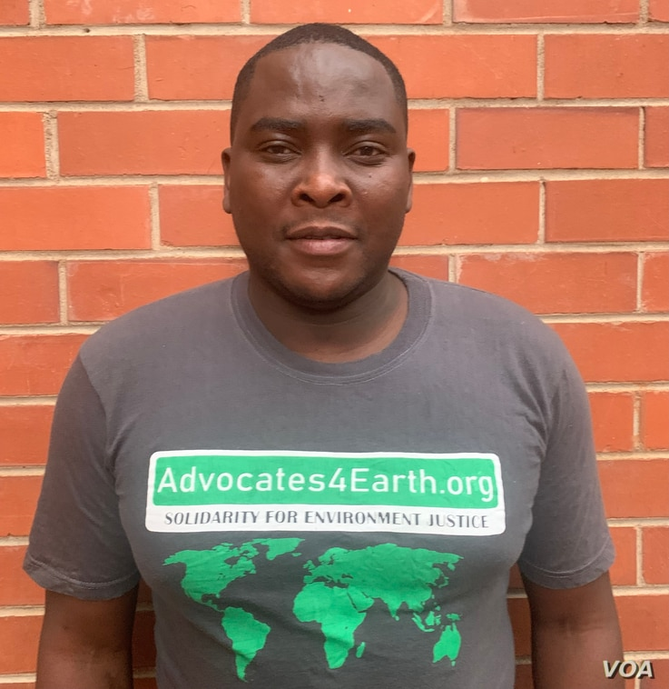 Lenin Tinashe Chisaira (Harare July 15, 2021) who heads the environmental group Advocates4Earth is seeking High Court, to prevent the Zimbabwe Parks and Wildlife Management Authority from exporting elephants to China. ((Columbus Mavhunga/VOA))