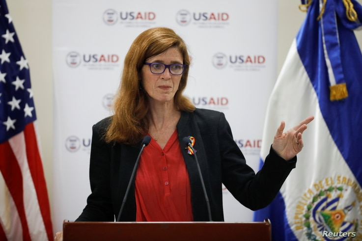 FILE - Samantha Power, administrator of the United States Agency for International Development, delivers a speech during a visit to El Salvador at the Central American University in San Salvador, June 14, 2021.