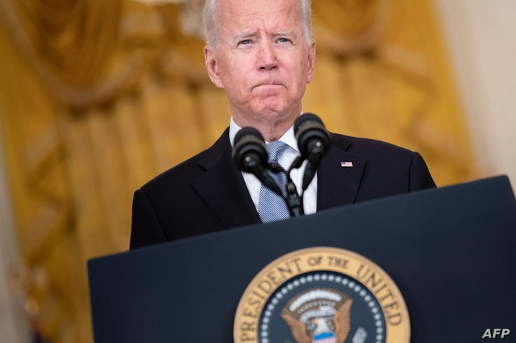 US President Joe Biden speaks about the Taliban's takeover of Afghanistan from the East Room of the White House August 16, 2021…