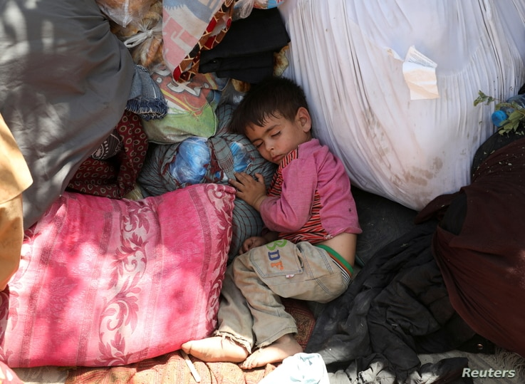 An internally displaced child from northern provinces, who fled from his home due the fighting between Taliban and Afghan…